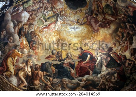 PARMA, ITALY - MAY 01, 2014: Fresco in Basilica Santa Maria della Steccata. Basilica is a Marian shrine made ??in Parma between 1521 and 1539 and in 2008 elevated to the rank of minor basilica - stock photo