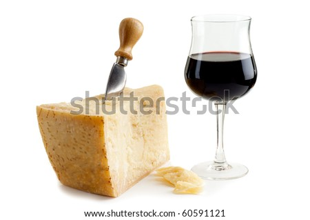 parmesan cheese and wine - stock photo