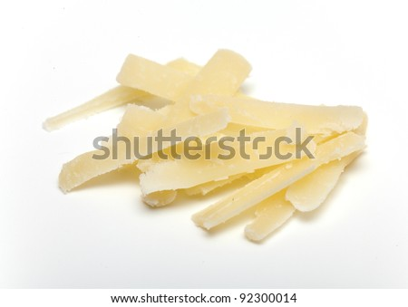 parmesan cheese grated isolated on white