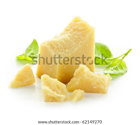 Parmesan cheese pieces closeup on white background - stock photo