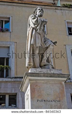 Parmigianino statue. parma. Emilia-Romagna. Italy. - stock photo