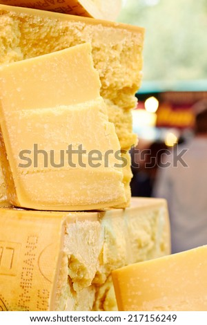 Parmigiano cheese at the market