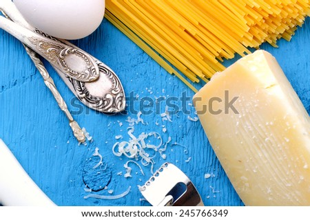 Parmigiano Reggiano, pecorino withraw pasta - stock photo