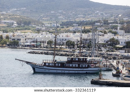 Paros, Greece- May 17, 2015: Picturesque of Island of Paros view from the ship in Paros Island, Cyclades, Greece.