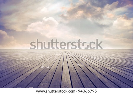 Parquet floor under sunny sky - stock photo