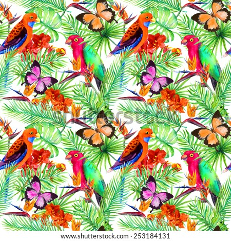 Parrot birds, butterflies, tropical leaves and jungle exotic flowers (bird of paradise flower, orchid). Seamless pattern. Watercolor  - stock photo