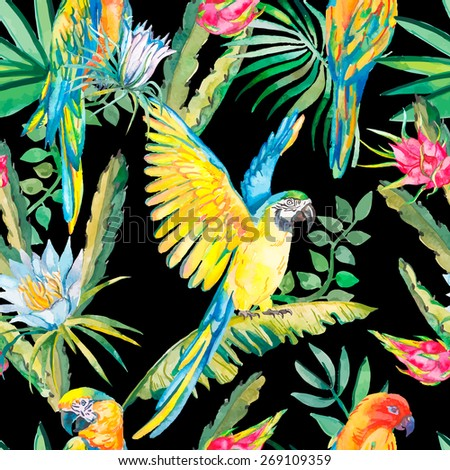 Parrots and exotic flowers. Macaw seamless pattern. Topical flower,leaves and pitaya.Tropical parrot. Exotic. Dragonfruit. - stock photo