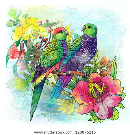 parrots and flowers - stock photo