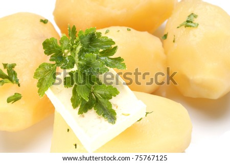 Parsley and butter on boiled potatoes