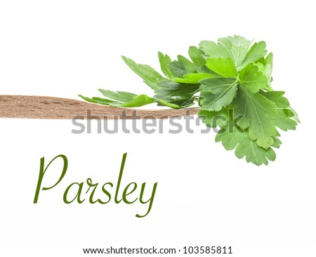 Parsley leaves on board isolated on white background, closeup