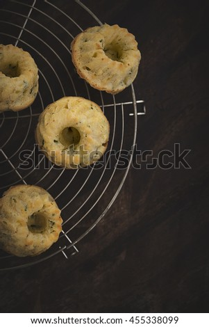 Parsley muffin on a rack - stock photo
