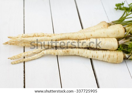 Parsley on white boards - stock photo