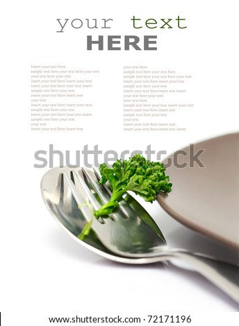 Parsley with fork and spoon isolated on a white background (with sample text)