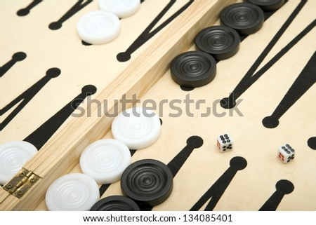 Part of a Backgammon set + Dice. - stock photo