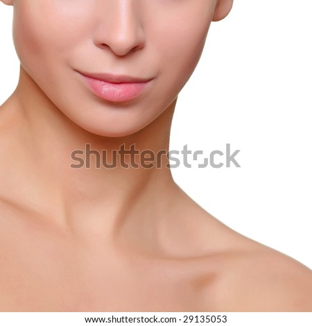 Part of a beautiful feminine face close up, isolated on a white background, please see some of my other parts of a body images: - stock photo