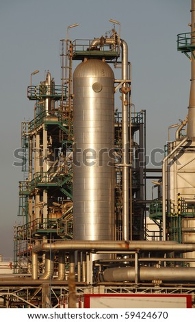 Part of a big oil refinery and powerlant - late evening light
