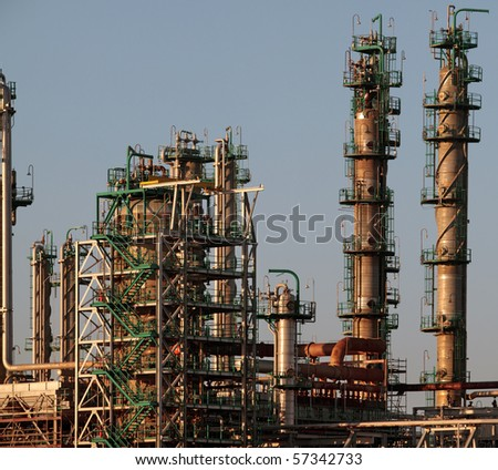 Part of a big oil refinery - late evening light - stock photo