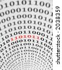 Part of a binary code marked in red. - stock photo