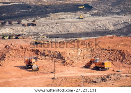 Part of a coal mine pit with big mining Excavator  - stock photo
