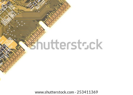 Part of a computer chip isolated on white - stock photo