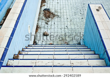Part of a derelict swimming pool in Turkey - stock photo