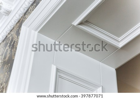 part of a doorway for a white door - stock photo