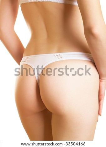 Part of a female body in cowards on a white background - stock photo