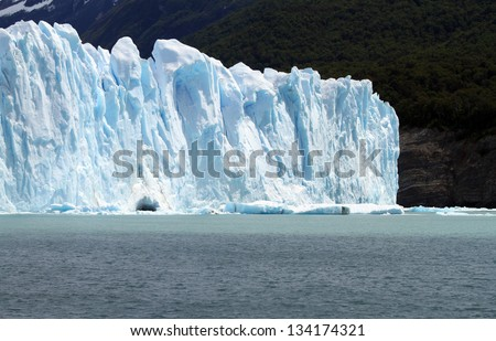 Part of a glacier in Patagonia, South America.