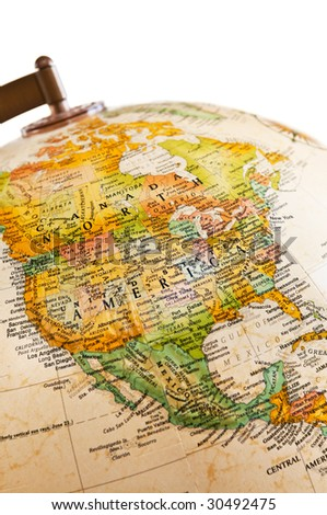 Part of a globe with map of North America - stock photo