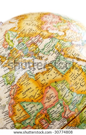 Part of a globe with map of the Mediterranean - stock photo