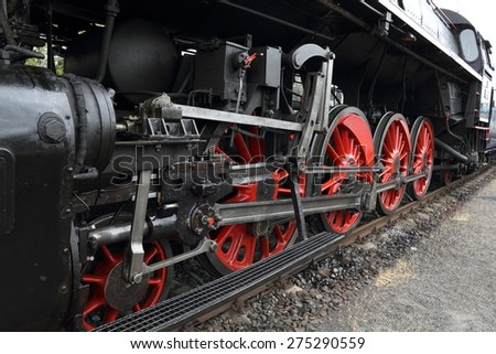 """Part of a historic steam locomotive """"Slechticna"""" (noblewoman). - stock photo"""