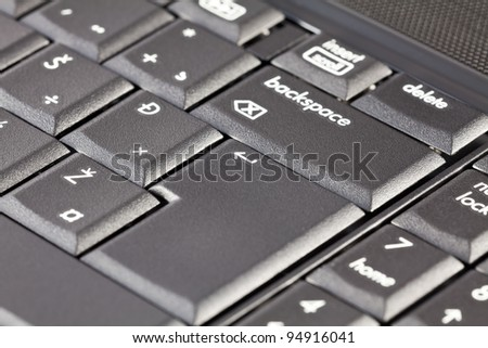 Part of a laptop keyboard with a focus on key enter.