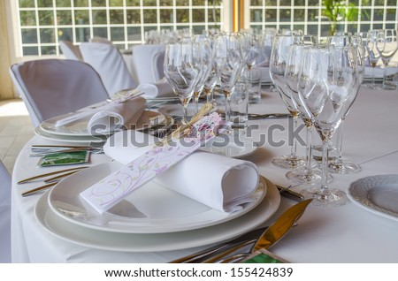 Part of a restaurant table, ready to invite somebody - stock photo