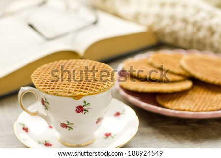 Part of a series on Dutch Syrup Waffles (Stroopwafels) and afternoon tea - stock photo