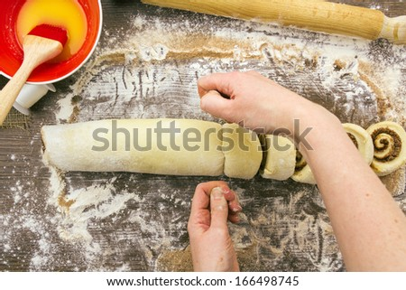 Part of a series showing the preparation of cinnamon rolls.