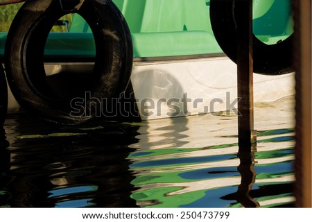 part of a small bay for pleasure launches mooring; summertime - stock photo