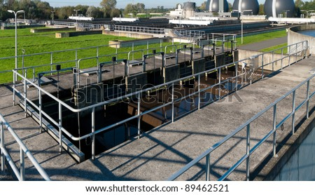 part of a waste water plant where the wasted water is being filtered - stock photo