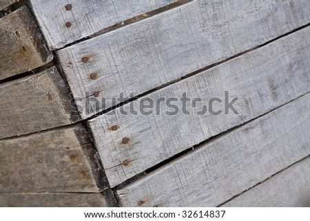 Part of a weathered wooden crate suitable for a text background. - stock photo