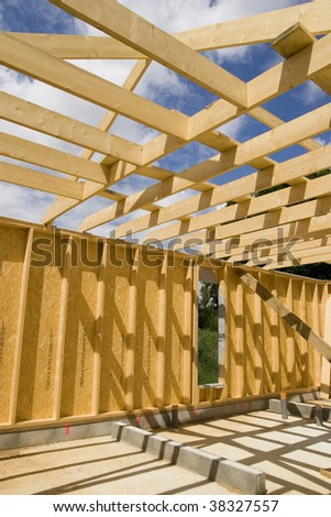 part of a wood house construction - stock photo