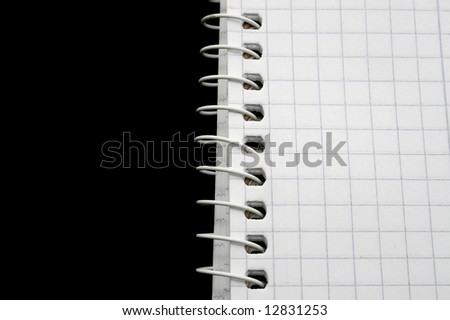 part of a writing pad isolated on black