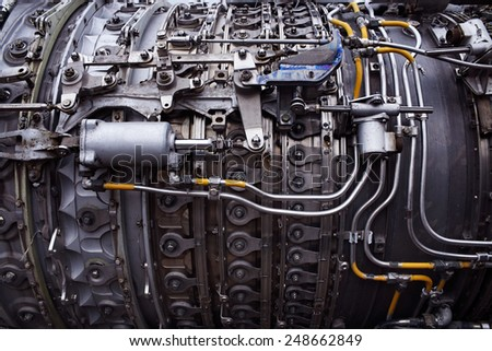 Part of airplane engine (color) - stock photo