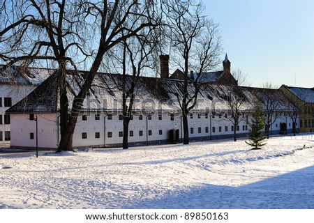 Part of Akershus - the old fortress of Oslo city - stock photo