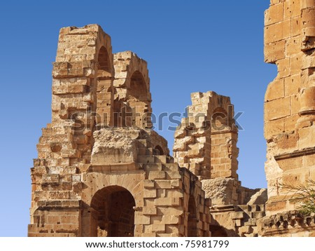 part of amphitheater ruins - stock photo