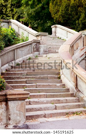 part of an ancient staircase - stock photo
