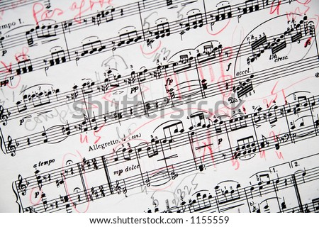 Part of an extensively annotated music sheet of Mozart's Fantasia in D minor. - stock photo