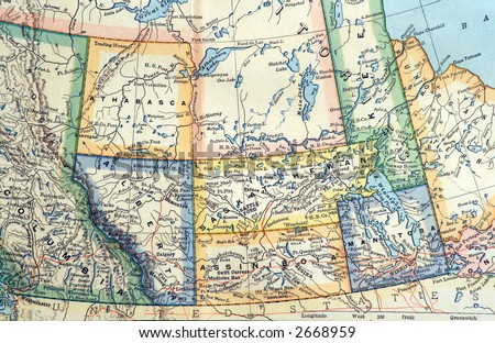 Part of an 1892 Map of the Canadian Prairies. - stock photo