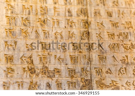 Part of ancient cuneiform detail on the stairway facade of the Apadana at the Persepolis, Iran. - stock photo
