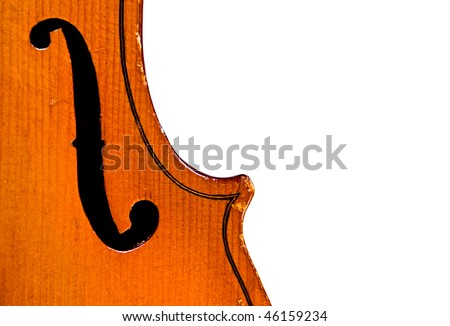 Part of antique violin isolated on white background - stock photo