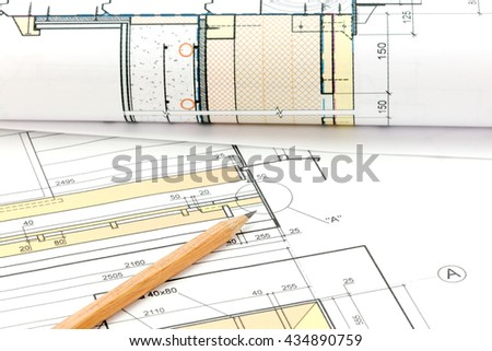 part of architectural project, construction plan on desk - stock photo