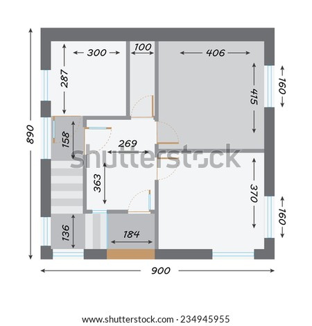part of architectural project Ground Floor Plan Floorplan House Home Building Architecture Blueprint Layout Detailed architectural plan raster illustration - stock photo